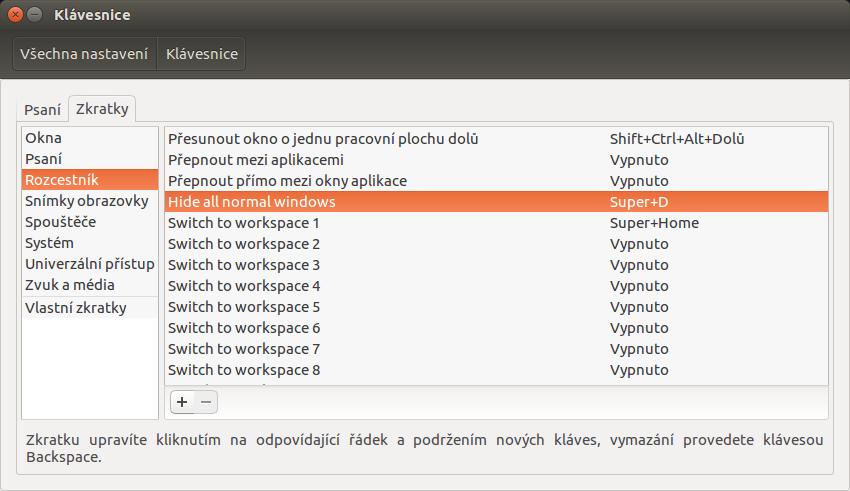 ubuntu-nastaveni-klavesovych-zkratek